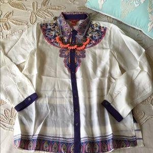 Sundance Catalog $138 silk button down blouse top